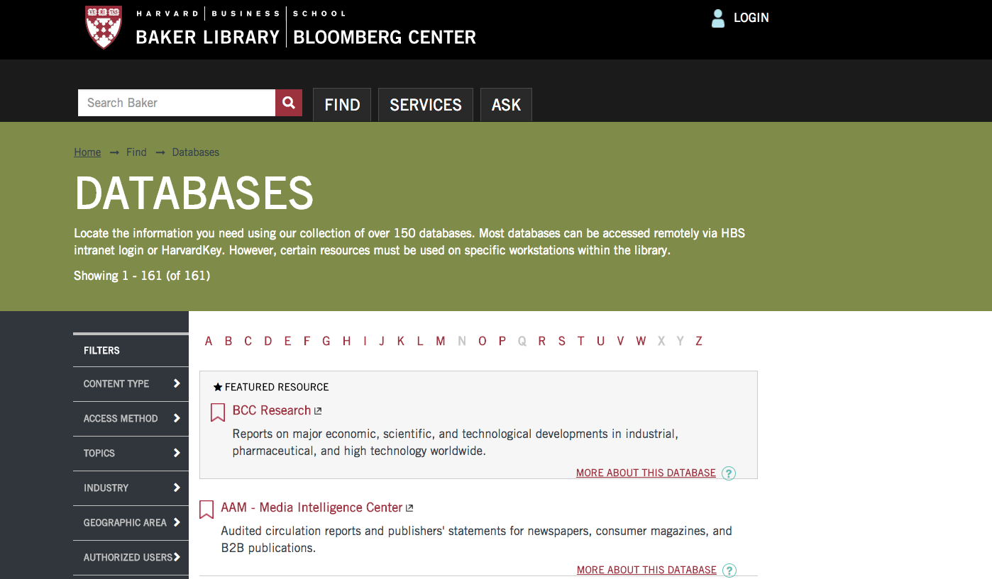 Harvard Business School Baker Library Databases Image