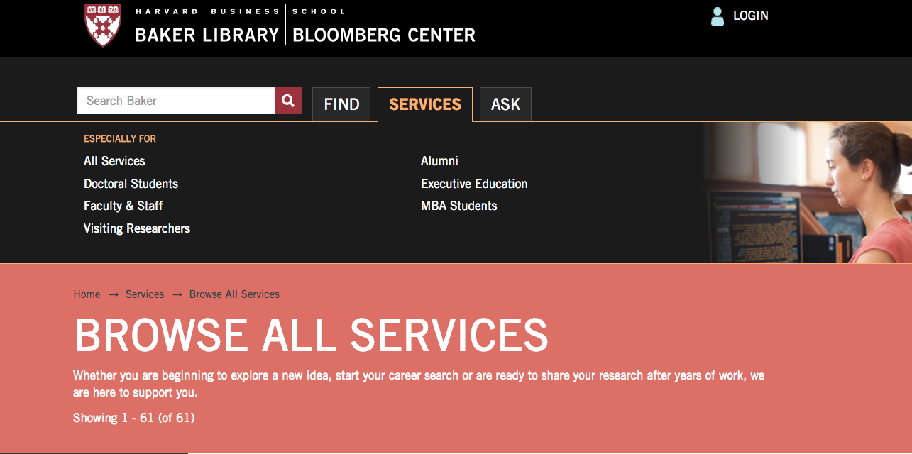 Harvard Business School Baker Library Personalization Services