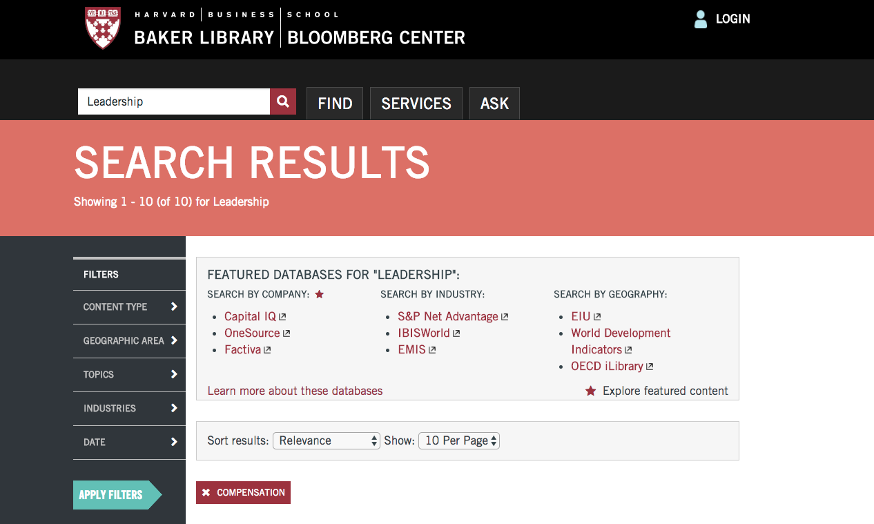 Harvard Business School Baker Library Search Results