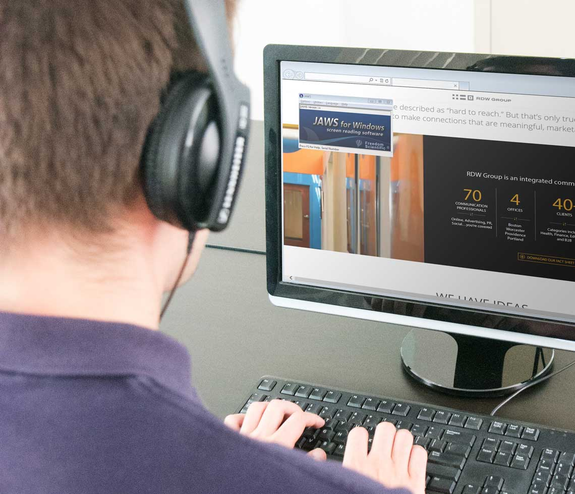 A user browsing a site with a screen reader