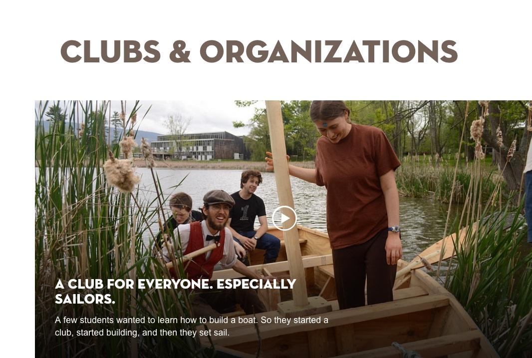 Bennington Clubs Landing Page