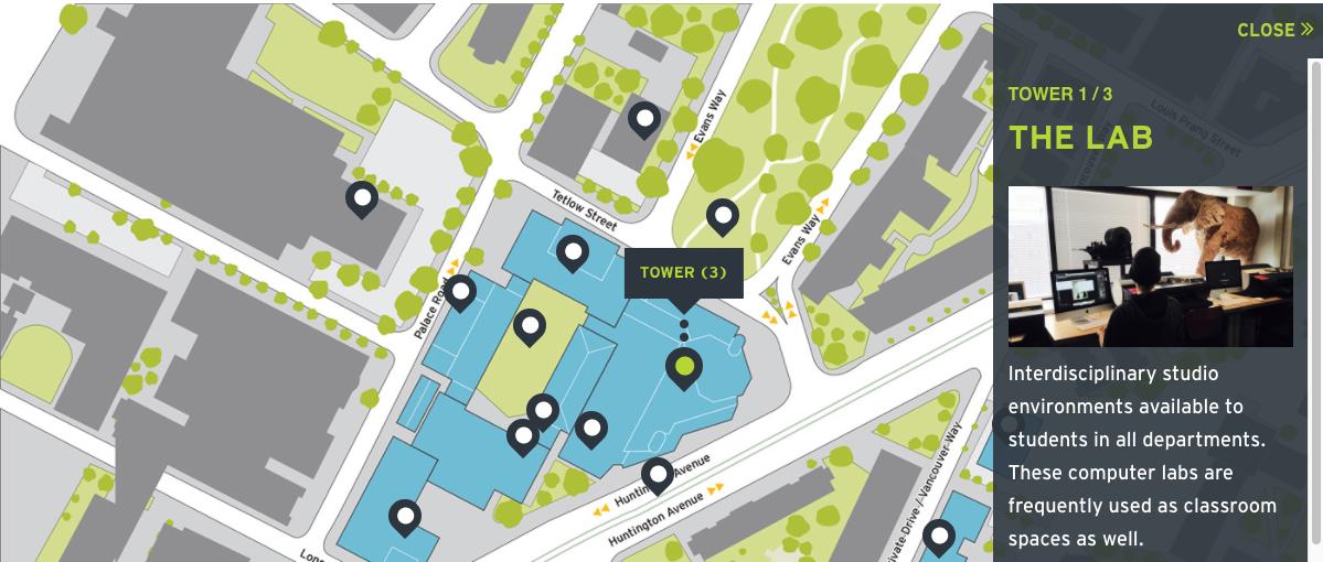 MassArt campus map